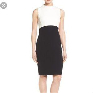 Halogen women's color block mock neck sheath dress